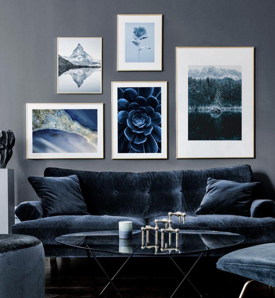 Bilderwand gestalten Blau