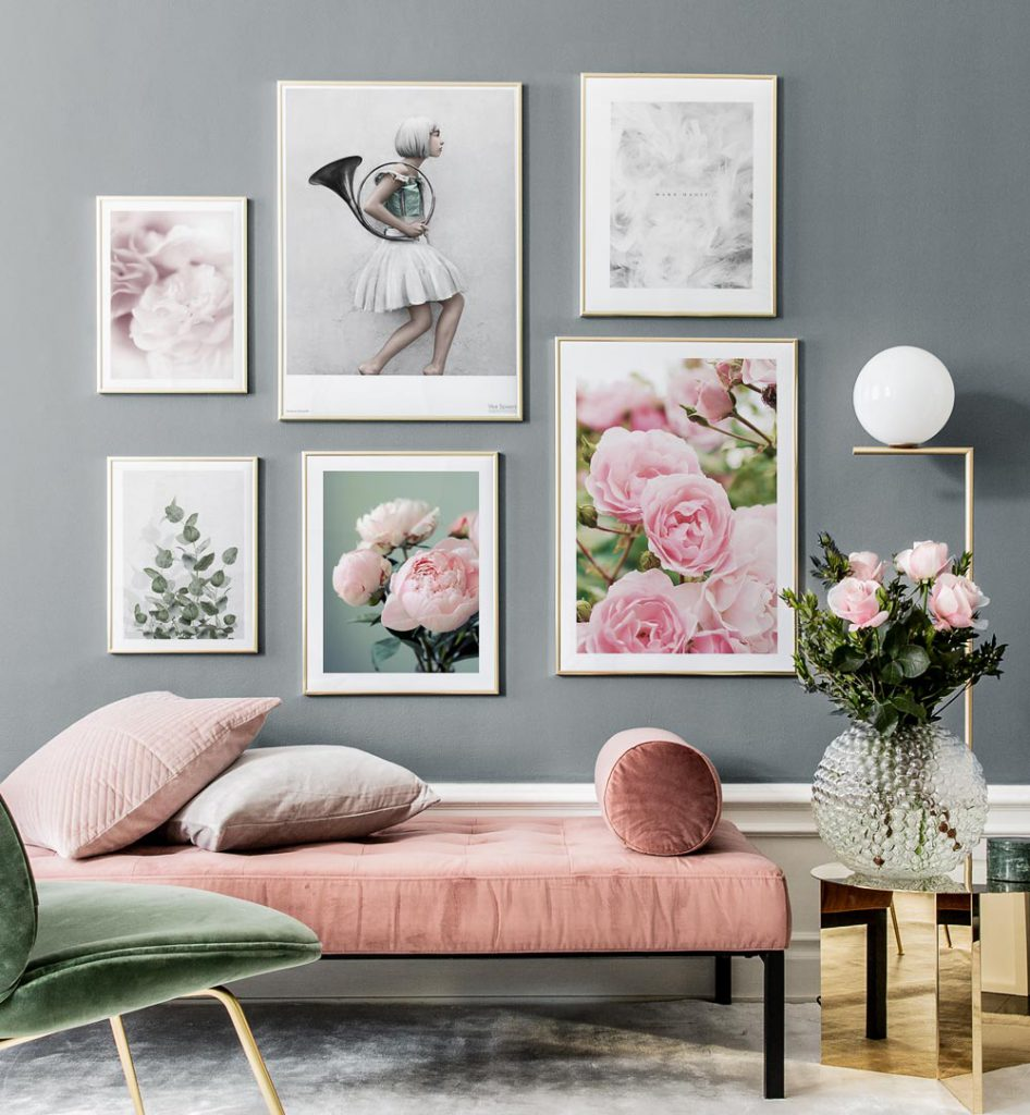 Bilderwand gestalten Rosa